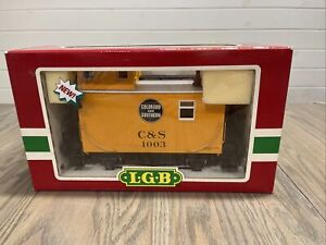 New In Box LGB 43650 C&S Yellow Caboose w/metal wheels and lights Colorado 1003