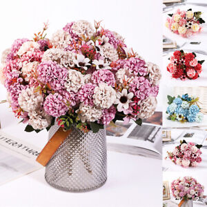 15 Heads Artificial Silk Peony Fake Flowers Bunch Bouquet Home Party Decor🔥1