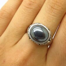 David Sigal 925 Sterling Silver Real Hematite Elephant Design Ring Size 6 3/4