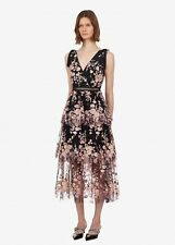 Self Portrait sleeveless midnight floral mesh dress