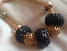 (A99) ROSE GOLD plated  WIRE black MESH SHAMBALLA  bead CRYSTAL BRACELET new