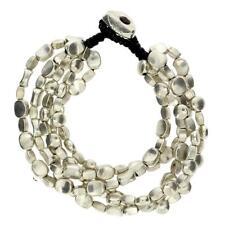 5 Multi Strand Silver Beaded Alloy Bracelet Waxed Linen Wristband Bali Jewelry
