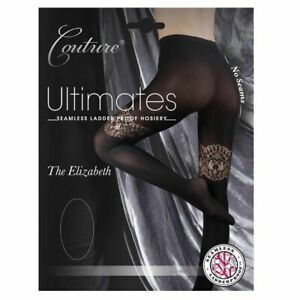 """Couture Ultimates """"The Elizabeth"""" Seamless/Ladder Proof Black XL Tights - New"""