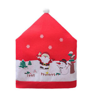 Christmas Chair Back Cover Snowflake Santa Clause Hat For New Year Decoracion