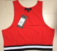 Ladies Crop Top Size 10 Sleeveless Vest New With Tags Red New Look BNWT