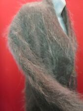 ~~FURRY HAIRY Vintage Chocolate Brown Fuzzy 100% Mohair Coat L XL~~ Sweater
