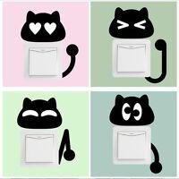 Cartoon 10pcs Black Kitten Switch Stickers Wall Stickers For Children's Rooms Li