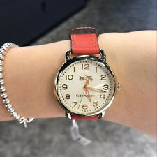 NWT Coach Women's Delancey Gold Tone Coral Leather Watch 14502719