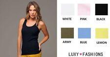 Unbranded Hip Length Sleeveless Basic T-Shirts for Women