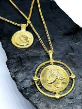 Gold Coin Double Disc Pendant Layered Greece Roman Gold Chain Necklace Jewellery