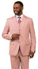 New Men's Suit 3 Piece Suit PINK WEDDING Suit PARTY SUMMER w/t Vest THREE PIECE