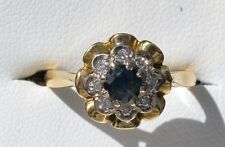 18ct yellow gold solitaire sapphire and diamond halo ring
