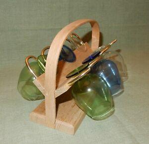6 Gläser Cognac mit Gestell Gläserhalter original DDR Design um 1960