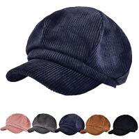 New Women's Solid Cotton Corduroy Newsboy Hat Gatsby Cap Autumn Winter Beret Cap