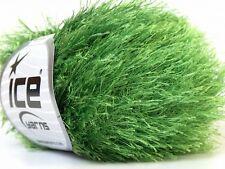 Grass Green Eyelash Yarn #22787 Ice Packers Solid Jungle Green Fun Fur 50gr