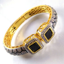 BLACK ONYX & CZ Gemstone High Gold Plated Handmade Designer Cuff Bangle Bracelet