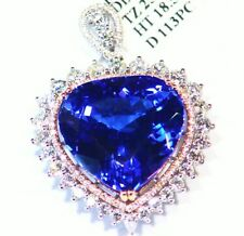 27.50CT 18K Gold Natural Tanzanite White Diamond Vintage AAA Engagement Necklace