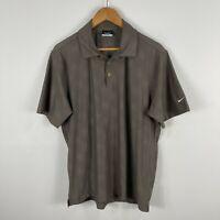 Nike Mens Golf Polo Shirt Medium Brown Short Sleeve Collared Dri-Fit