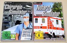 2 PC SPIELE SET - NOTARZT & CHIRURGIE SIMULATOR 2011 - DVD HÜLLE - ARZT MEDIZIN