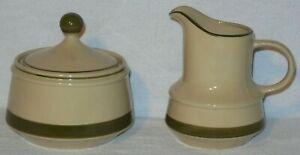 "Vintage Creamer 4.5"" & Sugar Bowl 1970s Montego Stoneware Japan hand decorated"