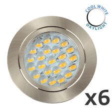 6 x Brushed Chrome 12V LED Caravan Campervan Lights Spotlights Downlights 6000K