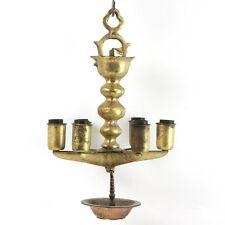 Antique German Brass Hanging Sabbath Lamp Judenstern 19th Century Judaica
