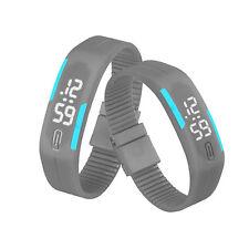Mens Womens Rubber Multicorlor Sports LED Watch Slim Bracelet Digital Wristwatch