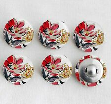 Floral Printed Fabric Buttons Round Scrapbooking Craft Embellishment 25 mm