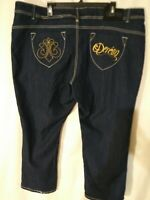 💝 NWT.DEREON WOMENS PLUS SIZE 24W. CROPPED SKINNY JEANS,POCKETS  EMBROIDERED..