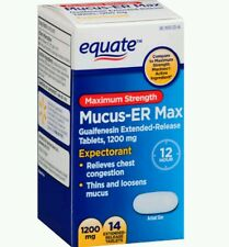 2x Equate Mucus ER MAX 14 Tablets 1200mg  No box!