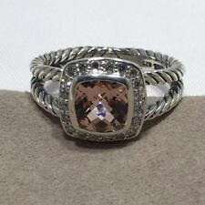 David Yurman Petite Albion Ring With Morganite and Diamonds Size 8