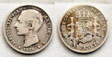 España-Alfonso XII. 1 Peseta 1876**. Madrid. BC+/F+. Plata 4,7 g. Escasa
