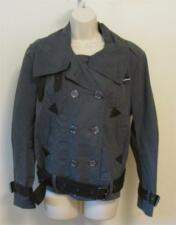 Burberry Brit Rockley raven grey cotton canvas jacket coat belt olive 10 woman