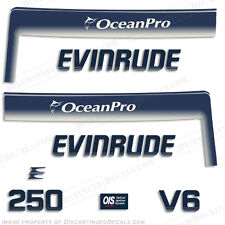 Evinrude 250hp V6 OceanPro Outboard Decal Kit - 1993 1994 1995 1996 1997