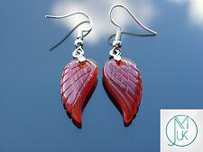 Red Agate Angel Wing Gemstone Earrings Natural Quartz Chakra Healing Stone Reiki