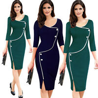 Sexy Women Wear To Work OL Pencil Dress Bodycon Evening Cocktail Midi Skirt Slit