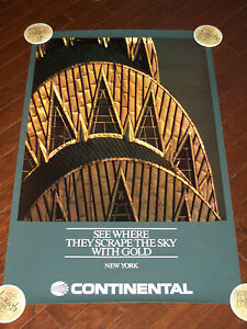 CONTINENTAL AIRLINES NEW YORK CITY POSTER LARGE 25 X 40