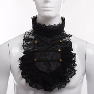 Steampunk Lace Necklace Ruffle Collar Retro Victorian Men's Detachable Collar