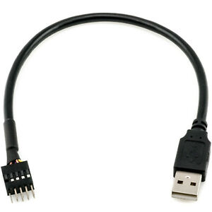CRJ 9-Pin USB IDC Dupont Male Header to Single USB 2.0 Type A Male Cable