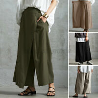 UK Womens Casual Wide Leg Pants Plain Casual Loose Culotte Solid Cotton Trousers