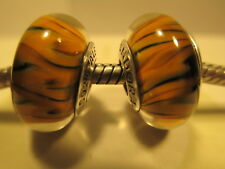 2 PCs Pandora Silver 925 Ale Bengal Tiger Murano Glass Beads Charms Retired New