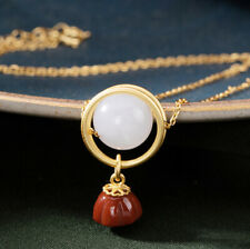 I02 Pendant With Chain Ball Made Of Jade Bloom Red Agate Gilded Silver 925