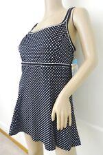 Nwt Swim Solutions 1 PC One Piece Swimsuit Swimdress Sz 14 Black Polca Dot $114