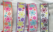 "Jacquard Ribbon 1"" Multi Flowers *Colors* 18 Yard Roll"