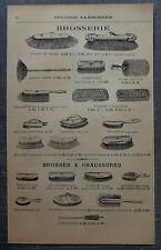 Publicité BROSSERIE BALAIS BROSSES A CHAUSSURES POLISSOIRE GOUPILLONS  advert