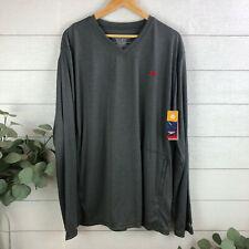 Speedo Men's Size XL V-Neck Long Sleeve Shirt UV Block Side zip Pocket Gray