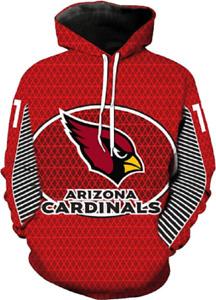 NEW Hzijue Men's Arizona Cardinals Team Logo 3D Print Hoodie Size XL