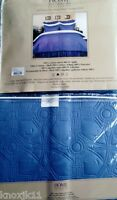 NEW Reversible Blue QUILT & SHAM SET Cotton Blanket Bedding Fits Twin Full Queen