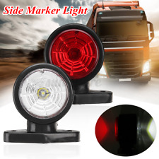 2pcs Red & White LED Side Marker Lights Rubber Lamp Outline Trailer Lorry