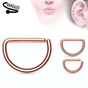 Cartilage Tragus Septum Nose Hoop Ring D-Shaped Titanium Anodized Annealed 16g